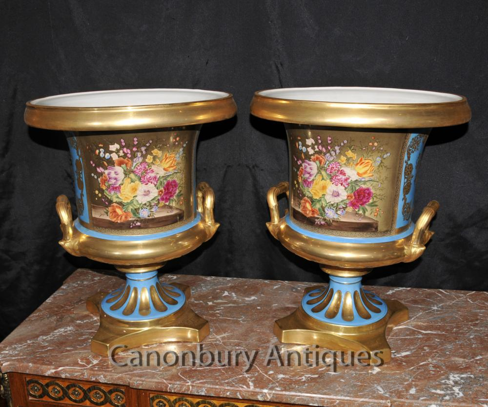 Pair Sevres Porcelain Campana Urns Planters French Floral