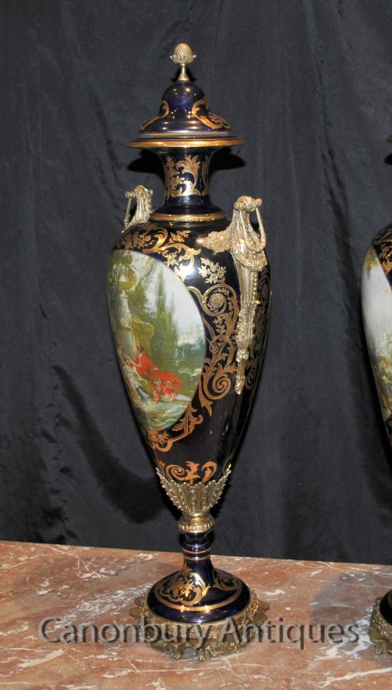 Pair Sevres Porcelain Romantic Vases Amphora Urns French Pottery