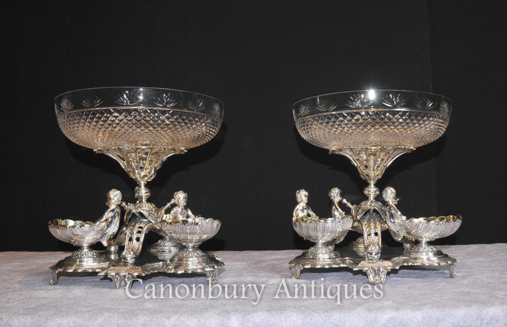 Pair sheffield silver plate cherub bowls dishes