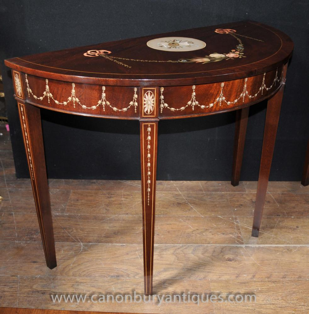 Pair Sheraton Painted Console Tables In Mahogany Regency