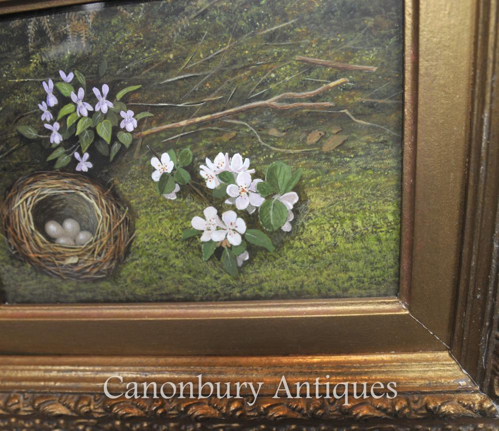 Pair Victorian Easter Egg Nest Spring Still Life Oil