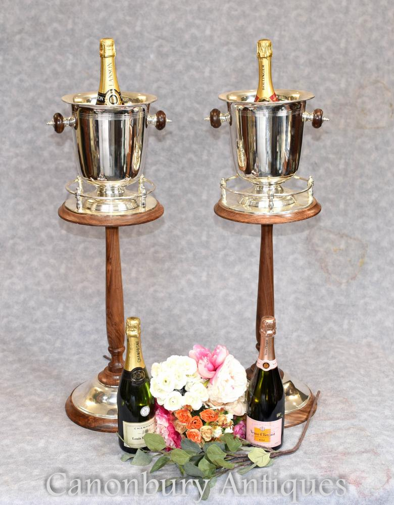 Details About Pair Silver Plate Champagne Buckets Stands Wine Cooler Ice