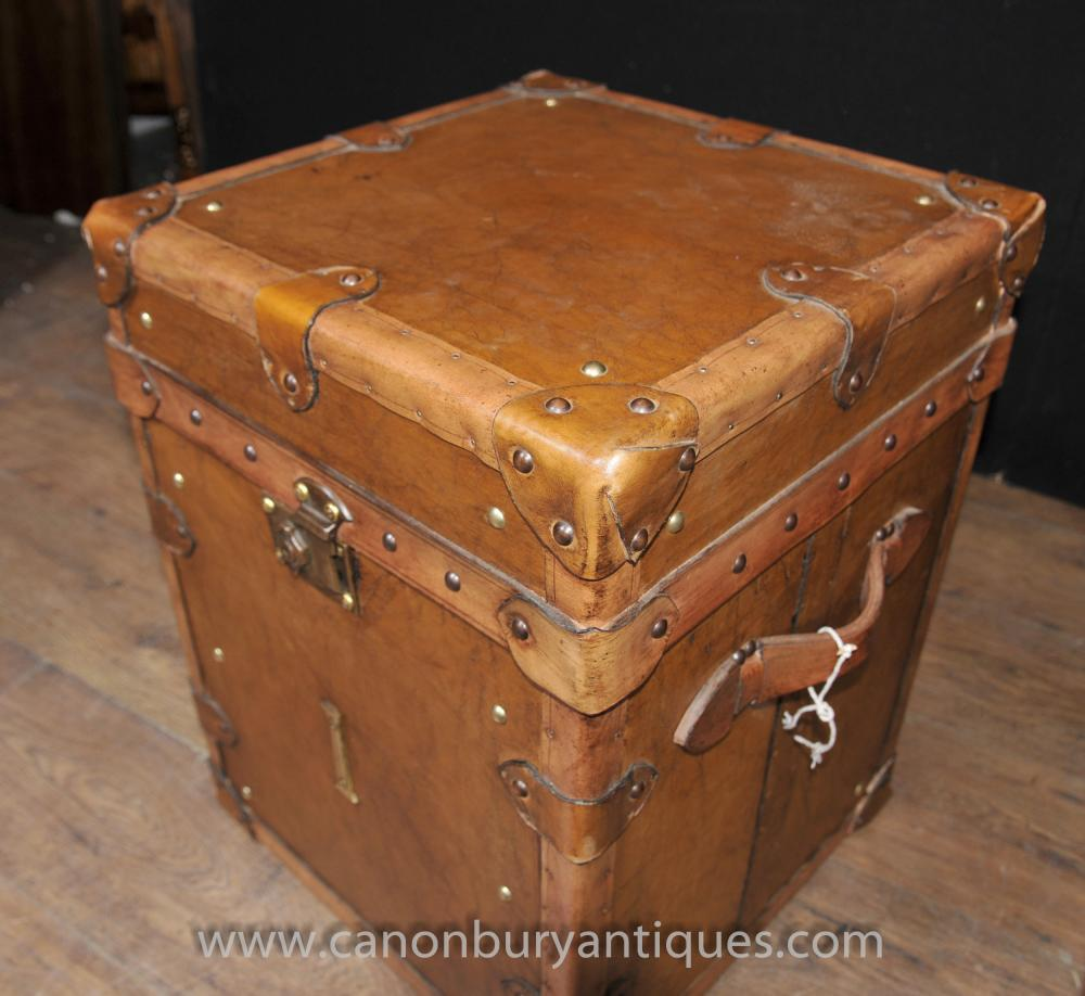 Pair Vintage Steamer Trunk Luggage Boxes Side Tables