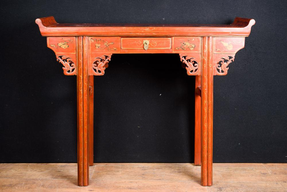 Red Lacquer Japanese Console Table Altar Table Circa 1920