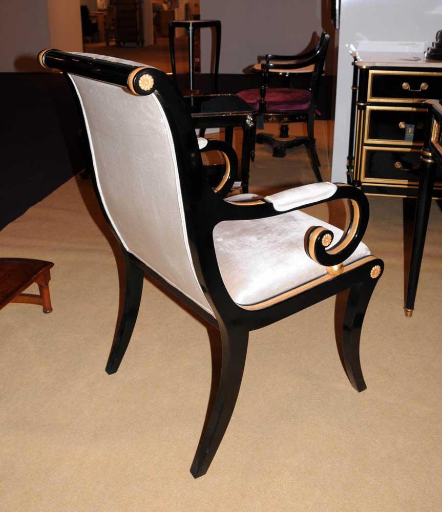regency black lacquer writing desk chair set. Black Bedroom Furniture Sets. Home Design Ideas