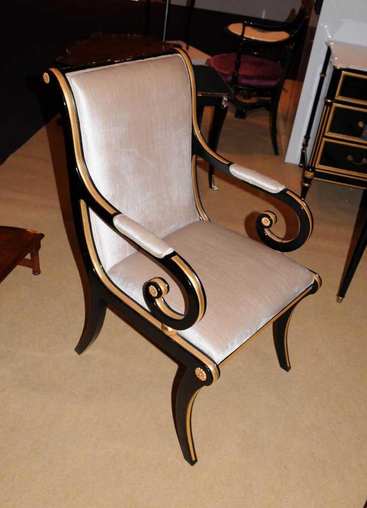 Regency Black Lacquer Writing Desk Chair Set