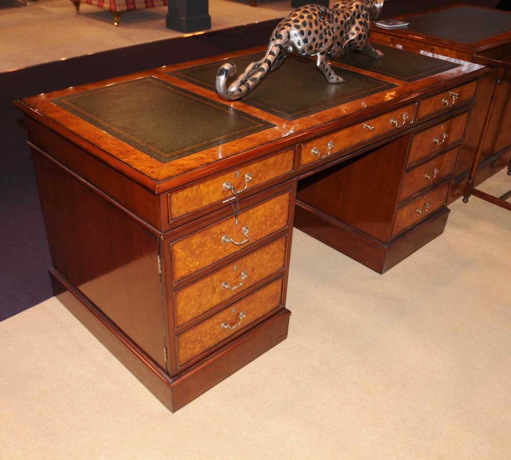 Regency desk walnut pedestal desks office furniture - Walnut office desk ...