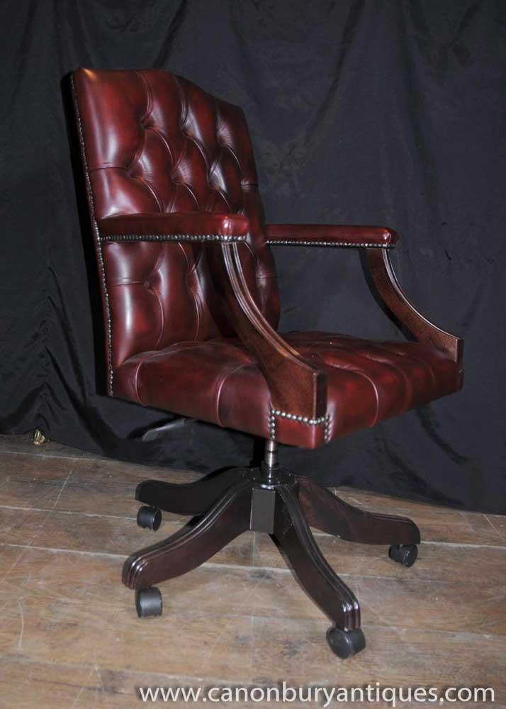 regency swivel desk chair leather arm chair deep button ebay rh ebay co uk