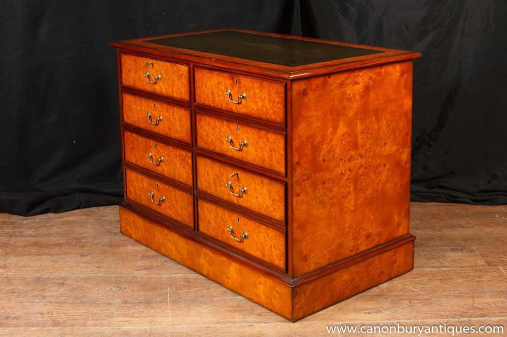 Regency Walnut Filing Cabinet Chest Drawers Office Furniture