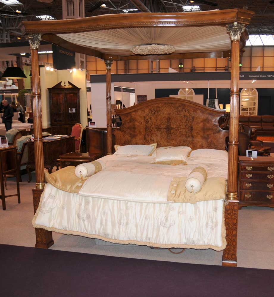 Ashley Furniture Layaway Program: Regency Walnut Queen Size Four Poster Bed Bedroom