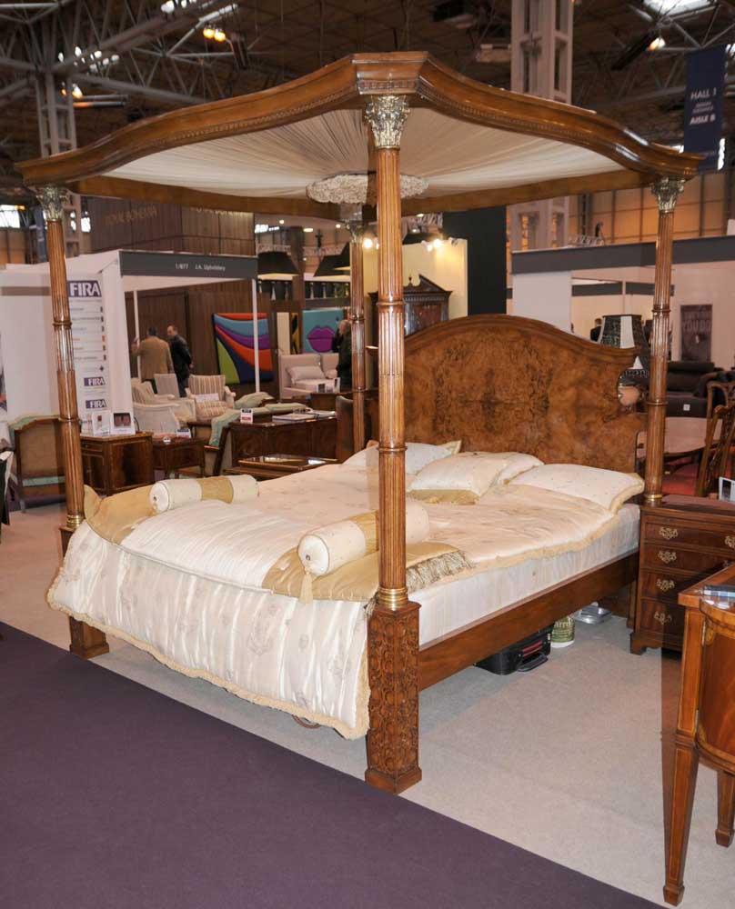 Regency walnut queen size four poster bed bedroom furniture - Walnut bedroom furniture sets uk ...