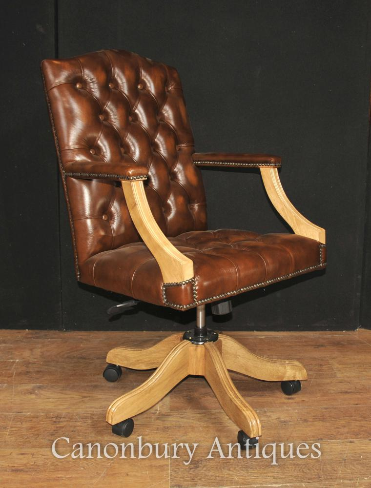 Regency Captains Office Desk Chair Arm Chair Deep Button