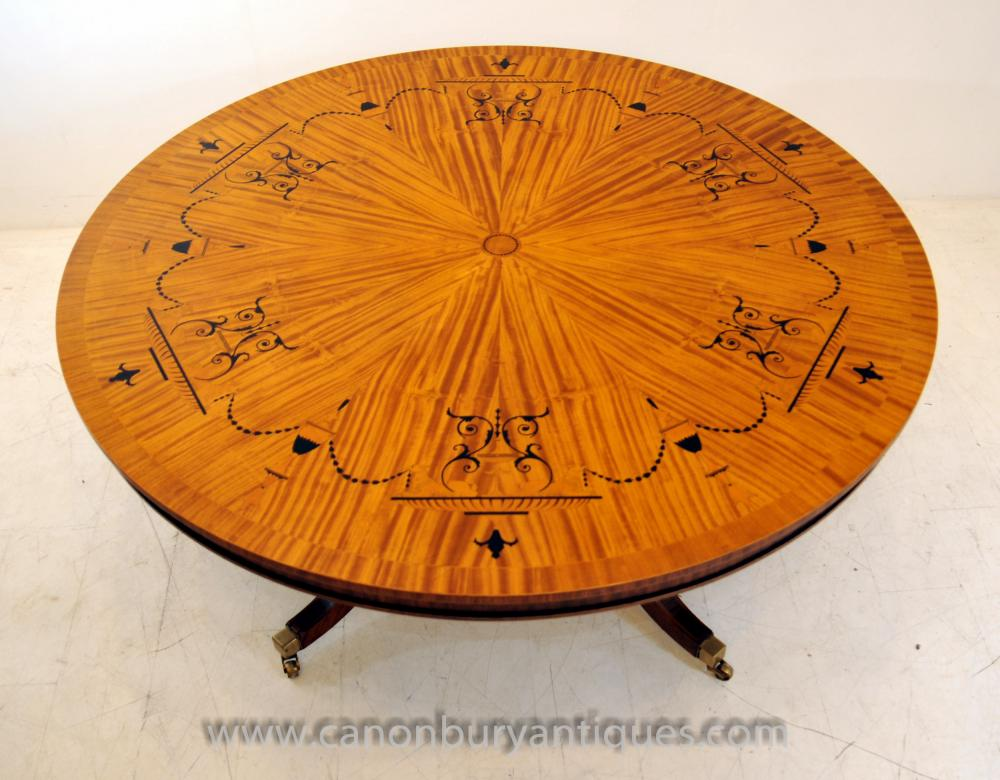 Regency Centre Dining Table In Satinwood Marquetry Inlay