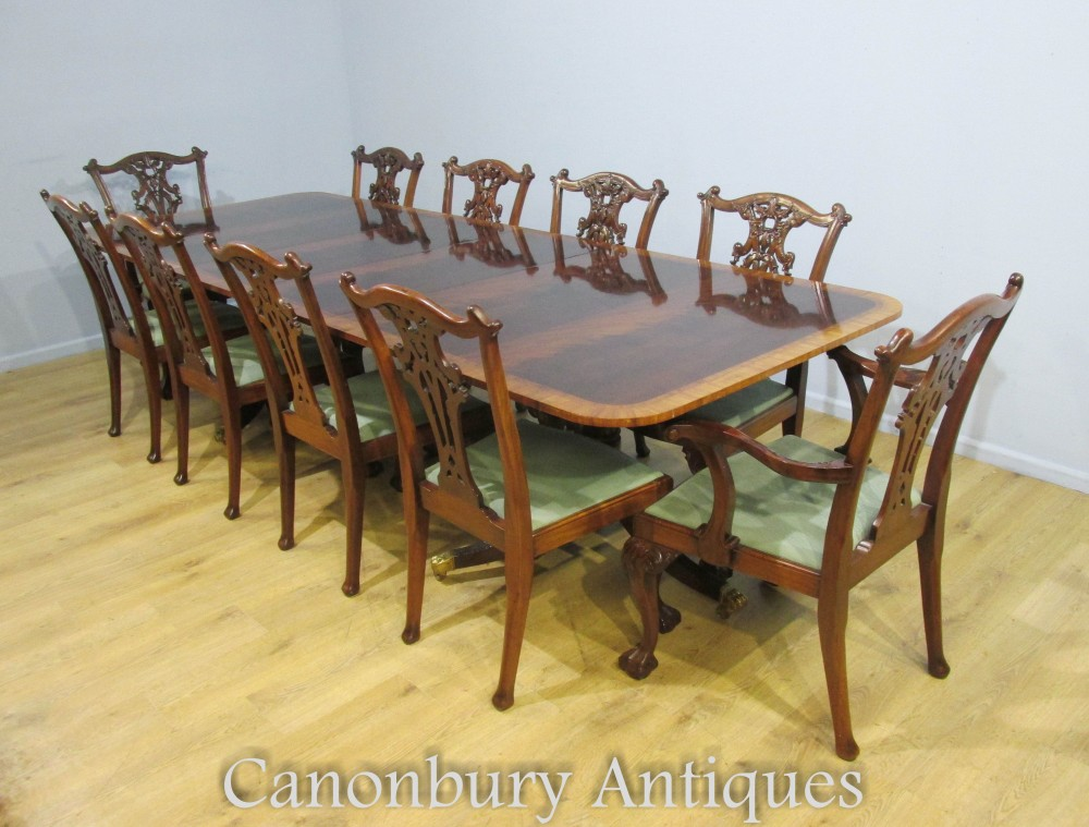 Regency Dining Table And Set Of Chippendale Chairs In Mahogany Ebay
