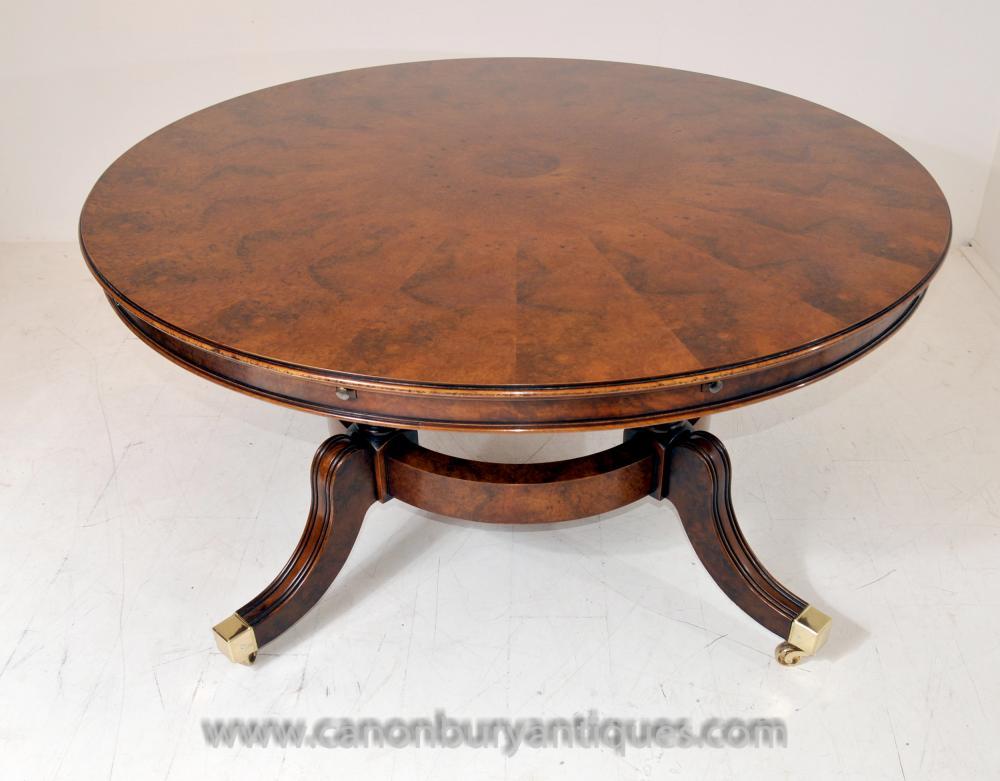 regency extending jupes dining table in walnut round tables. Black Bedroom Furniture Sets. Home Design Ideas