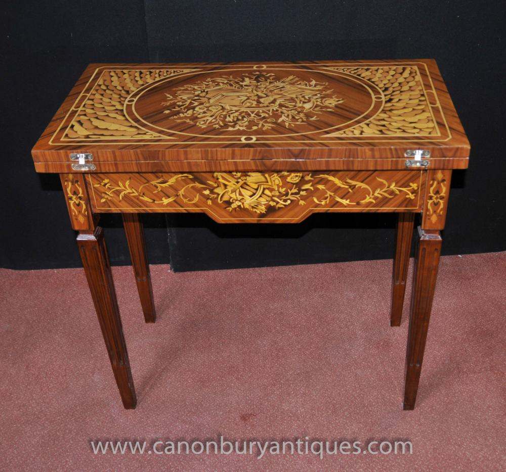 Regency Games Chess Table Marquetry Inlay Console Tables