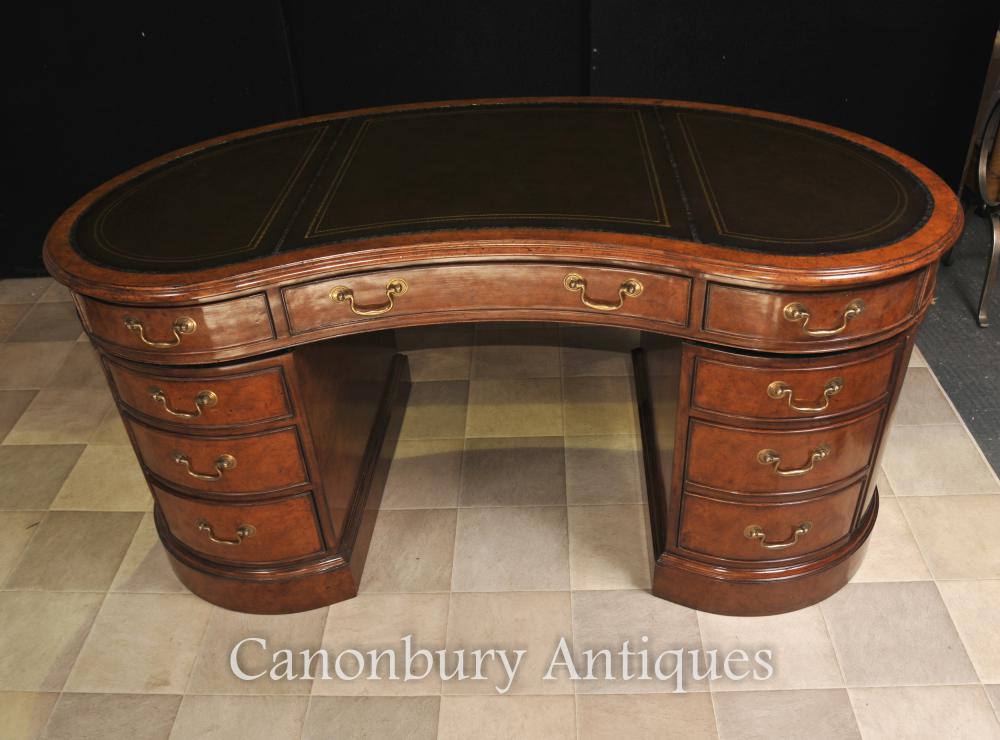 Additional Images - Regency Kidney Bean Desk In Walnut Writing Table Bureau EBay