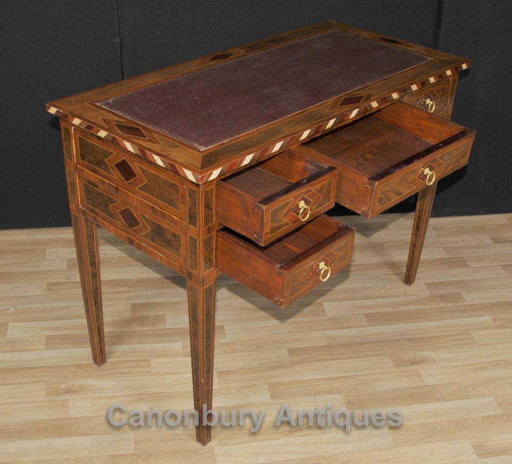 Regency knee hole desk marquetry inlay writing table bureau for Bureau writing desk