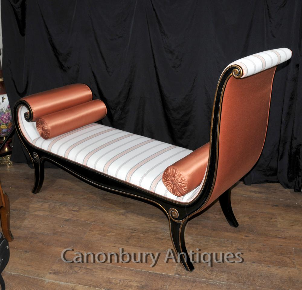 Regency lacquer chaise longue day bed ebay for Bed chaise longue
