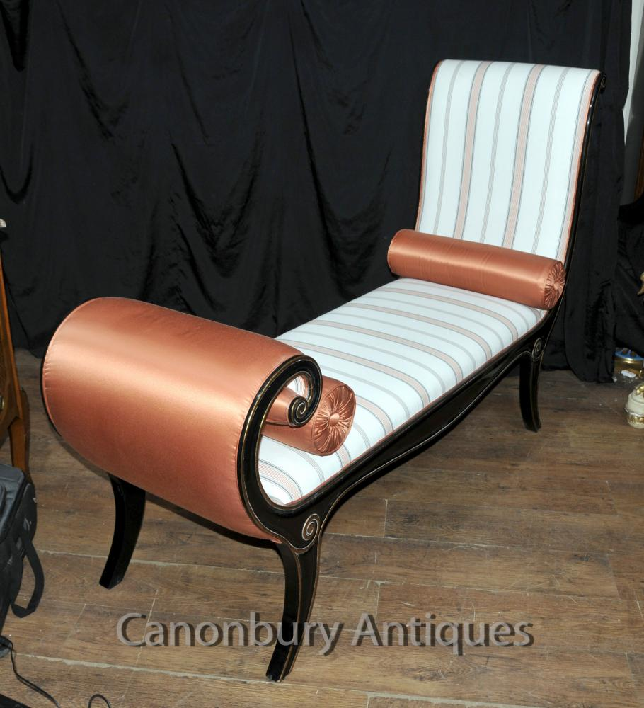 Regency lacquer chaise longue day bed ebay for Chaise longue tours