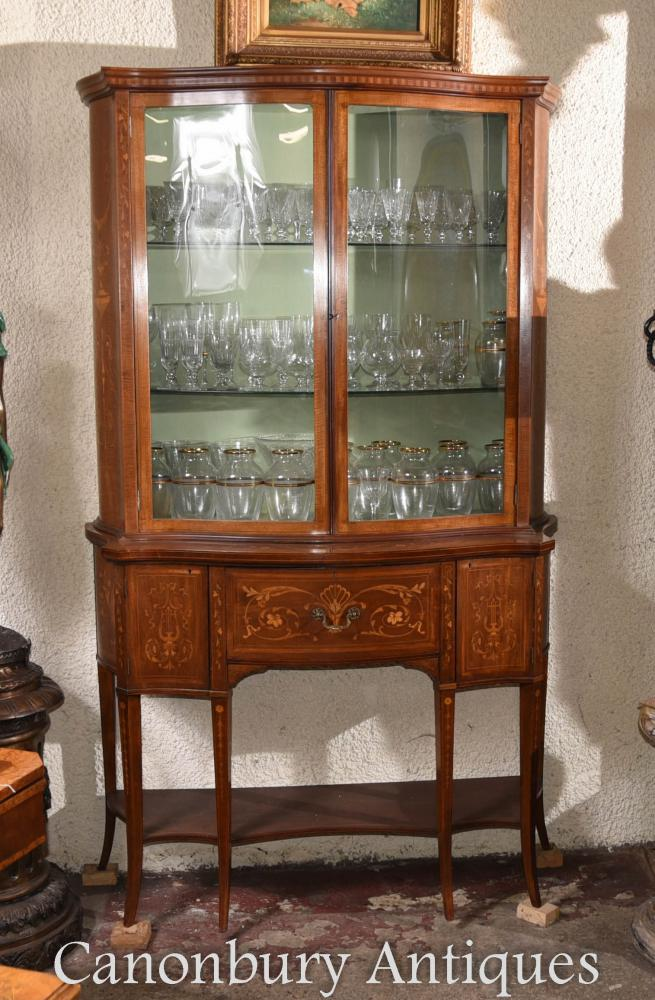 Additional Images - Regency Sheraton Bookcase Glass Display Cabinet Inlay EBay