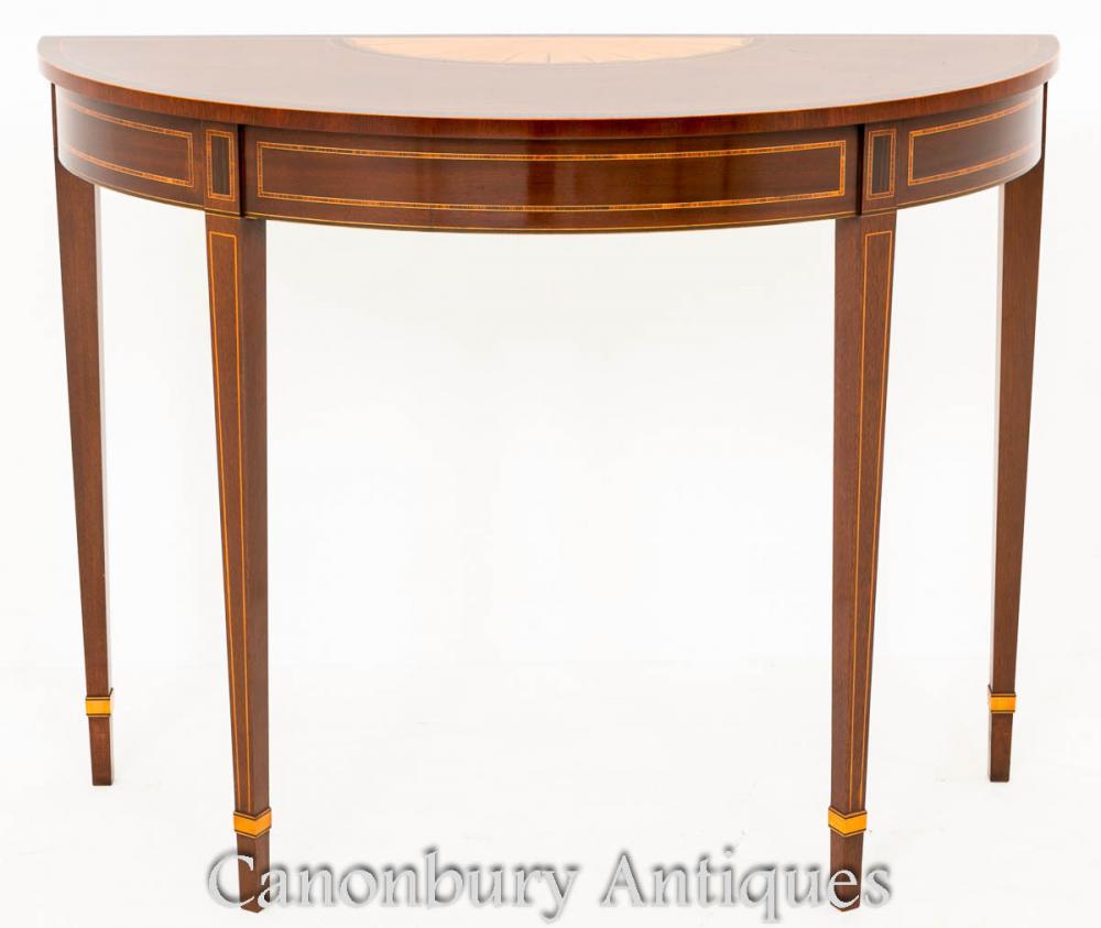 regency sheraton revival demi lune console table. Black Bedroom Furniture Sets. Home Design Ideas
