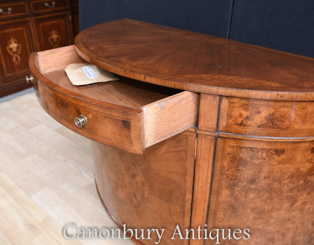 Regency walnut cabinet sideboard demi lune form for Baignoire demi lune