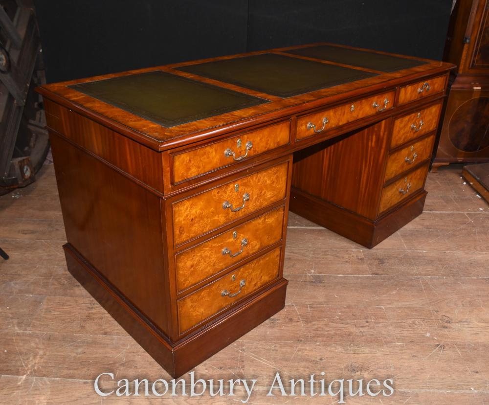 regency walnut knee hole pedestal desk writing table bureau ebay. Black Bedroom Furniture Sets. Home Design Ideas