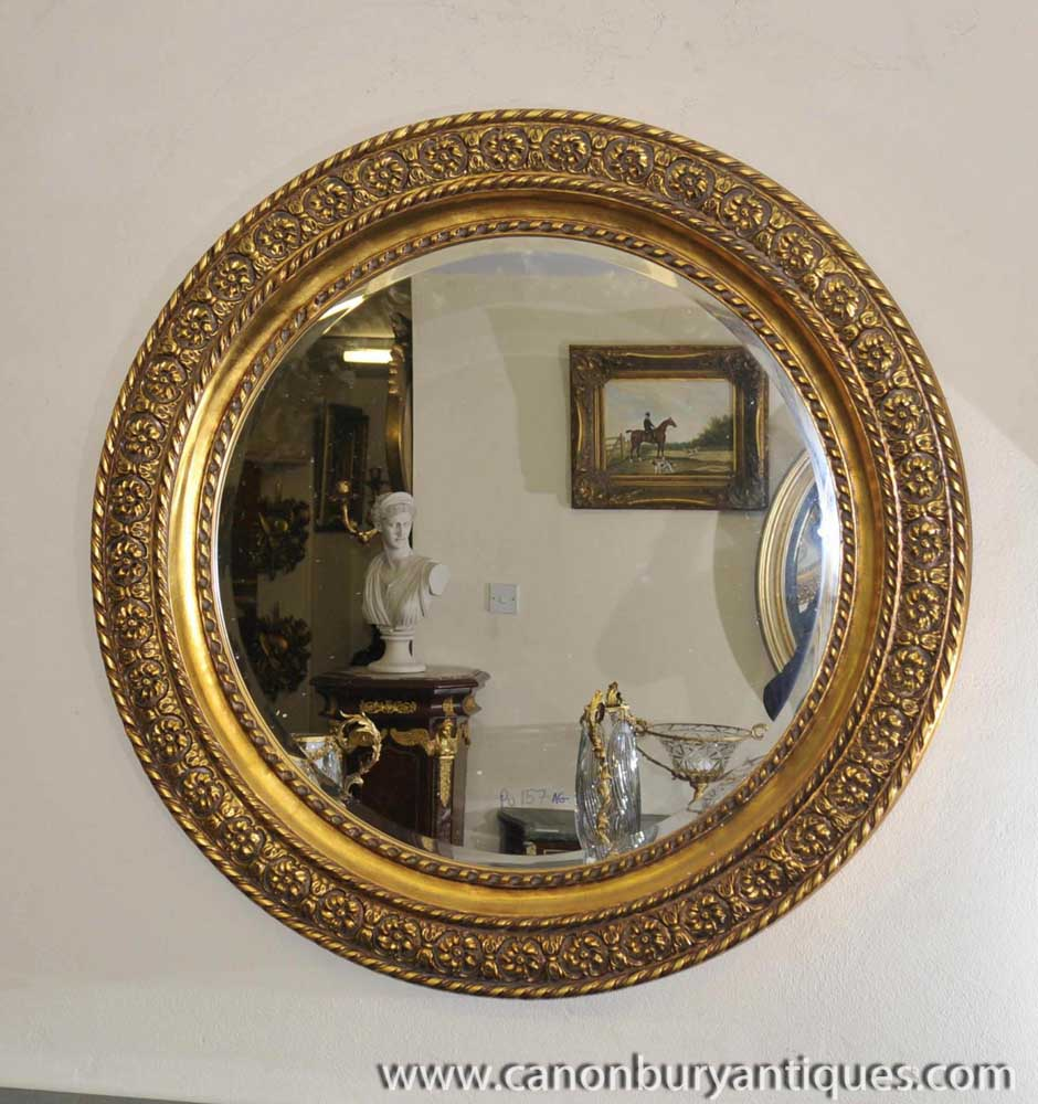 Round Victorian Gilt Mirror Carved Frame Glass Mirrors