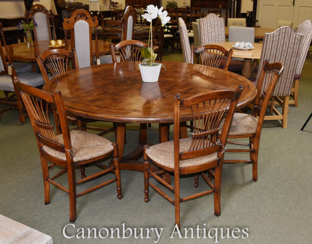 Round Oak Wood Refectory Dining Table Kitchen Diner