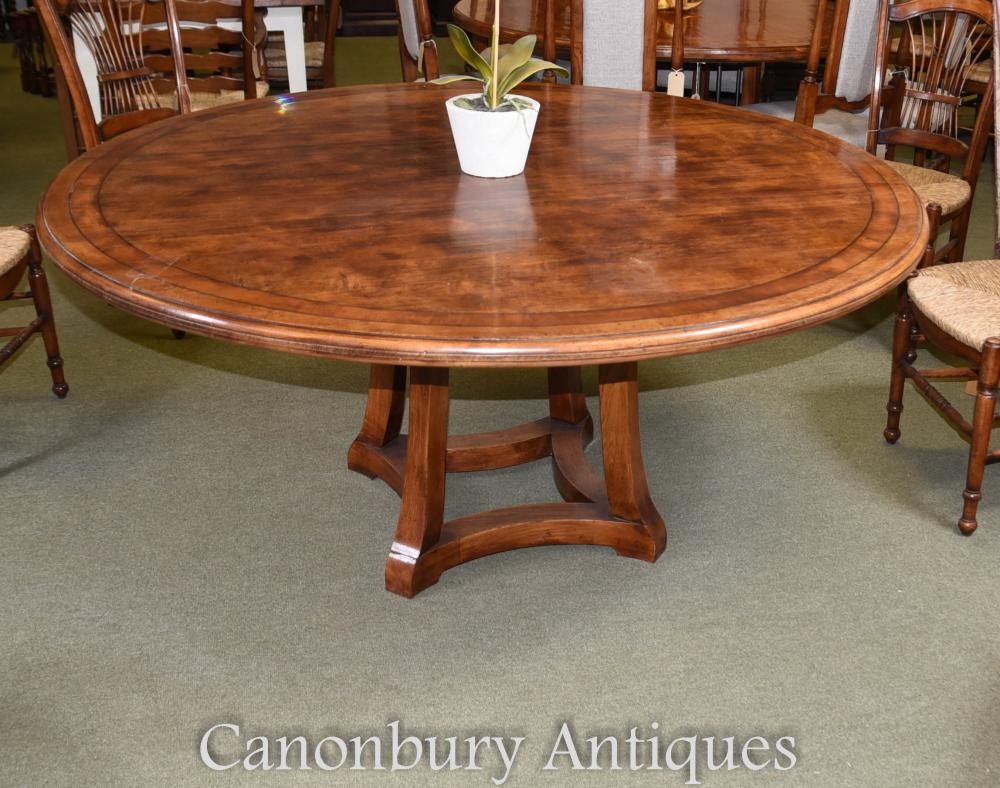 Wood Round Dining Table: Round Oak Wood Refectory Dining Table Kitchen Diner