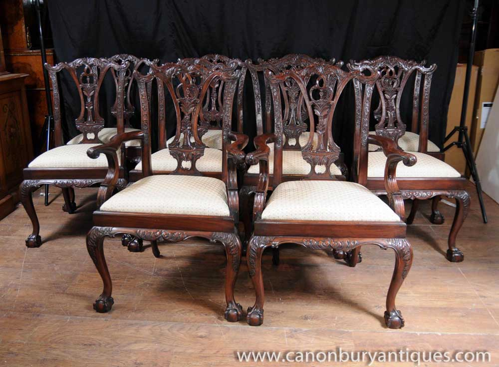 Set 10 Mahogany Chippendale Dining Chairs Ball Claw Feet Diner Chair