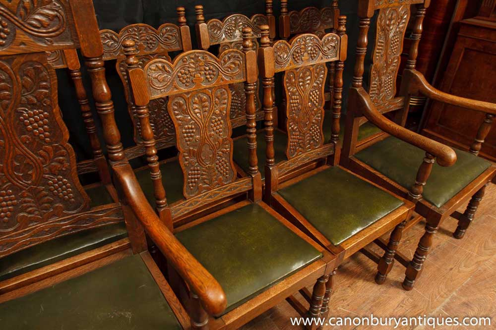 Set 8 Antique William And Mary Carved Dining Chairs Oak