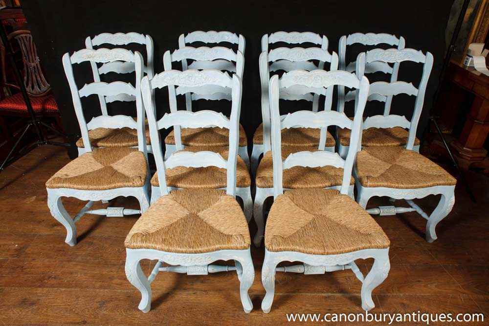 Set 8 Painted French Ladderback Dining Chairs Kitchen Oak