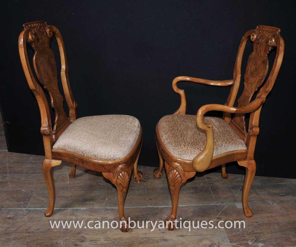Set 8 Walnut Queen Anne Dining Chairs Armchair Set