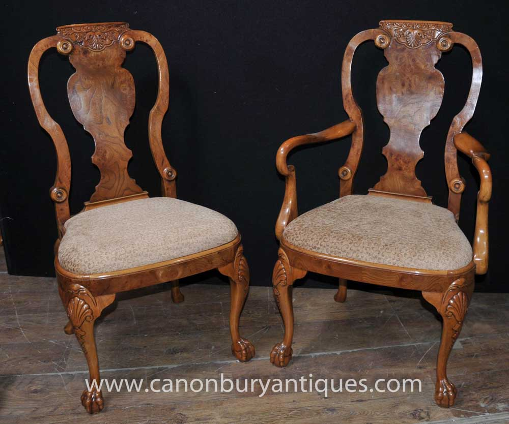 Set 8 walnut queen anne dining chairs armchair set for Queen anne furniture