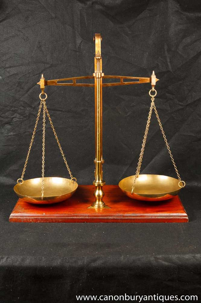 Set Antique Brass Medical Scales By Degrave And Co Circa 1900