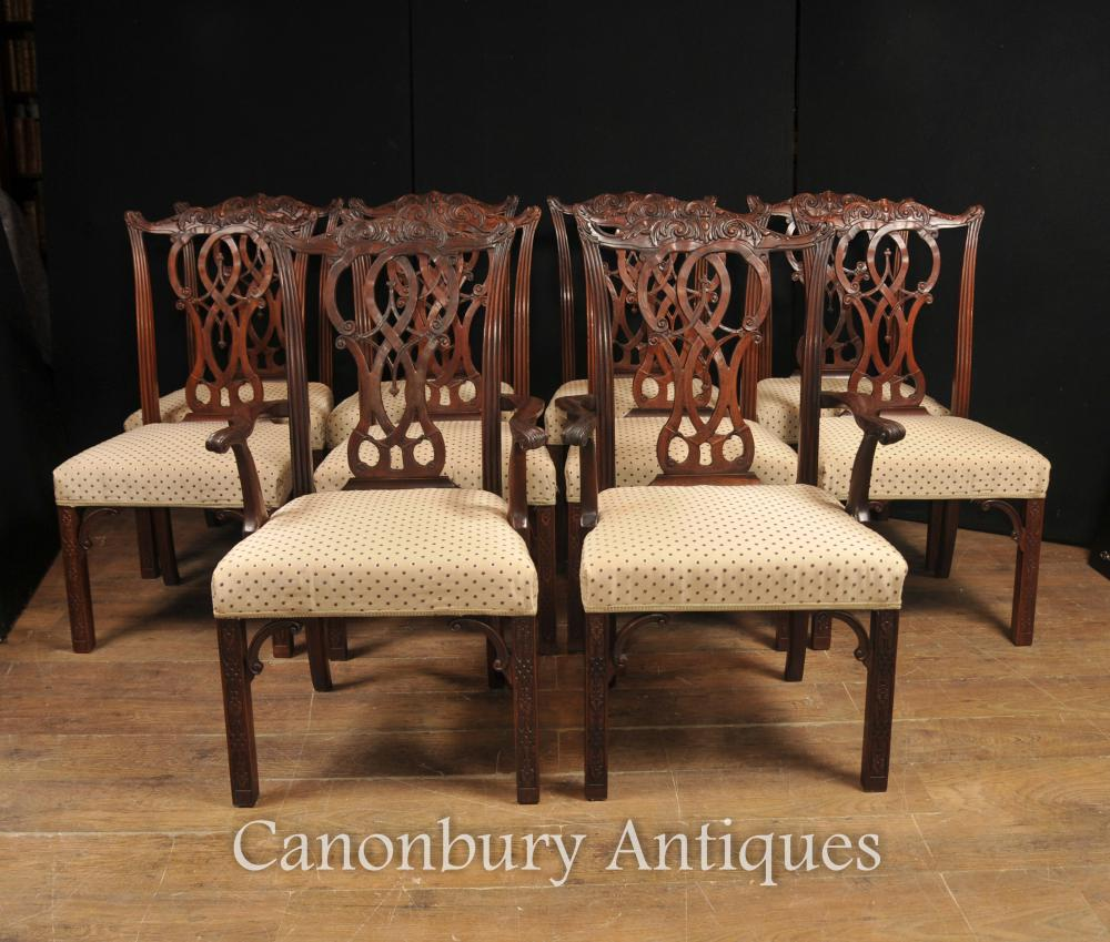- Set 10 Mahogany Chippendale Dining Chairs English Furniture EBay
