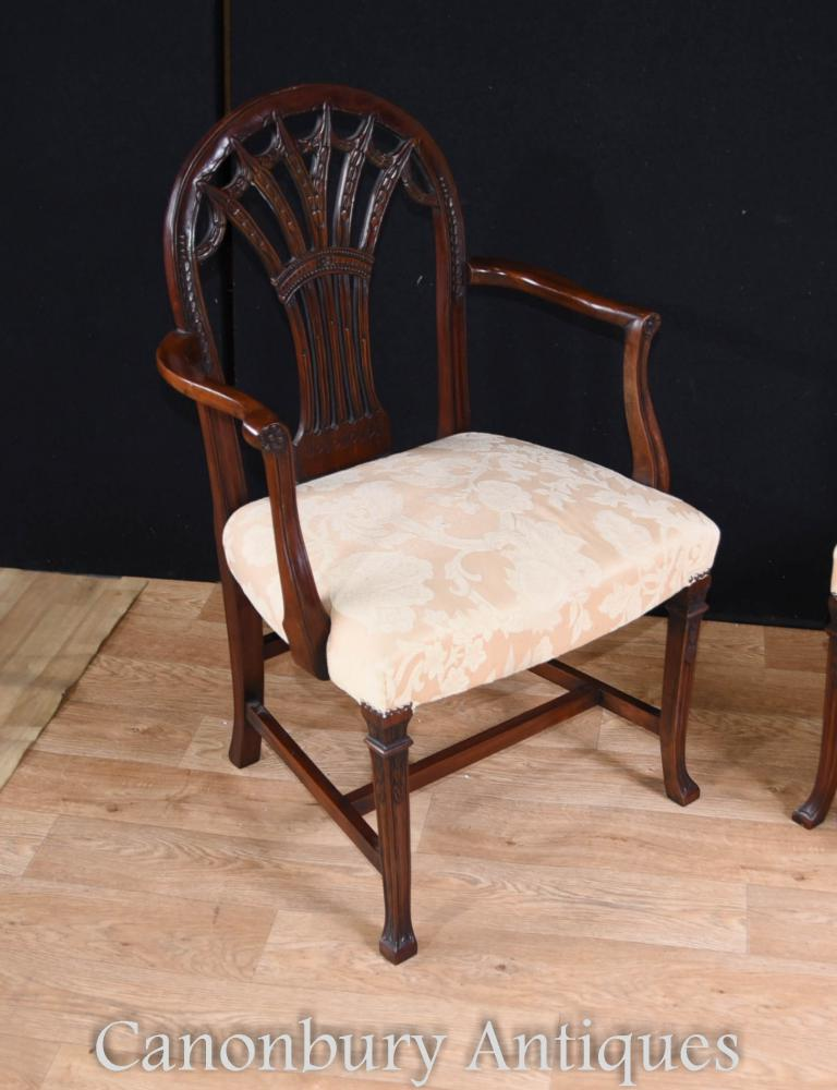 Set 10 mahogany hepplewhite dining chairs arm chair ebay for White dining chairs with arms