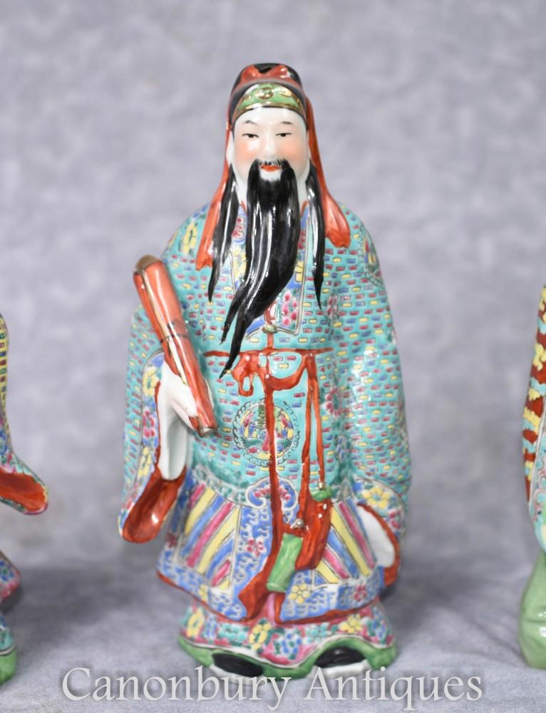 Set 3 Chinese Wise Men Porcelain Figurines Fu Lu Sho Gods