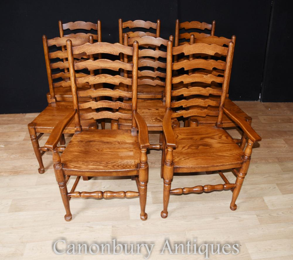 Oak Ladderback Chairs - Kitchen Dining Chair Set Of 8
