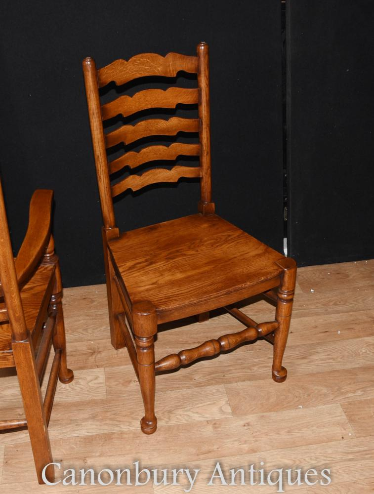 Set 8 Ladderback Oak Kitchen Dining Chairs