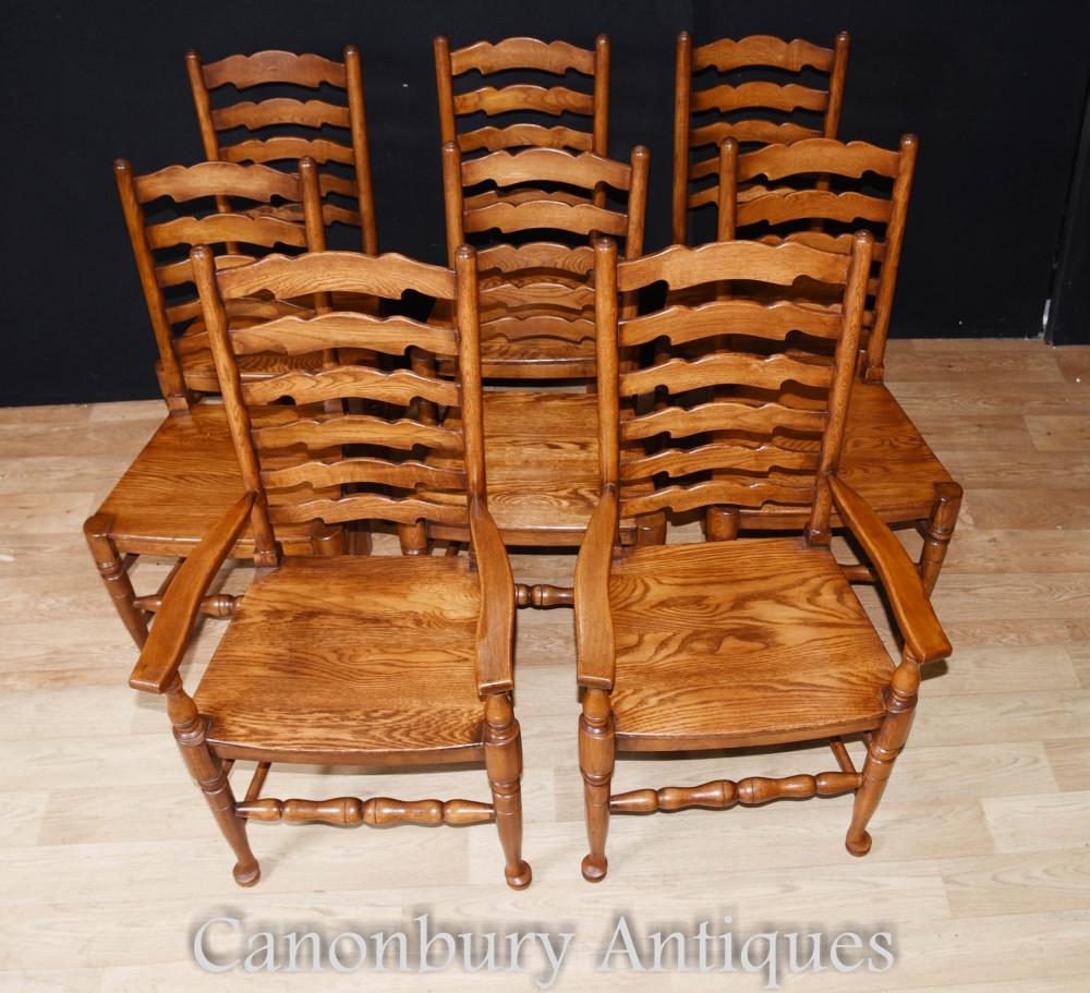 Oak Kitchen Chairs: Set 8 Ladderback Oak Kitchen Dining Chairs