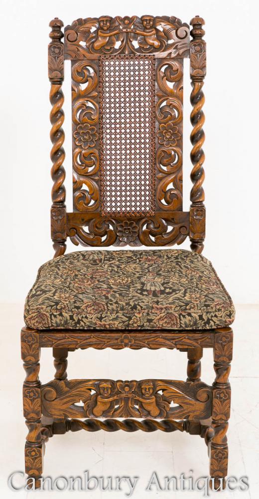 set  oak jacobean dining chairs farmhouse furniture