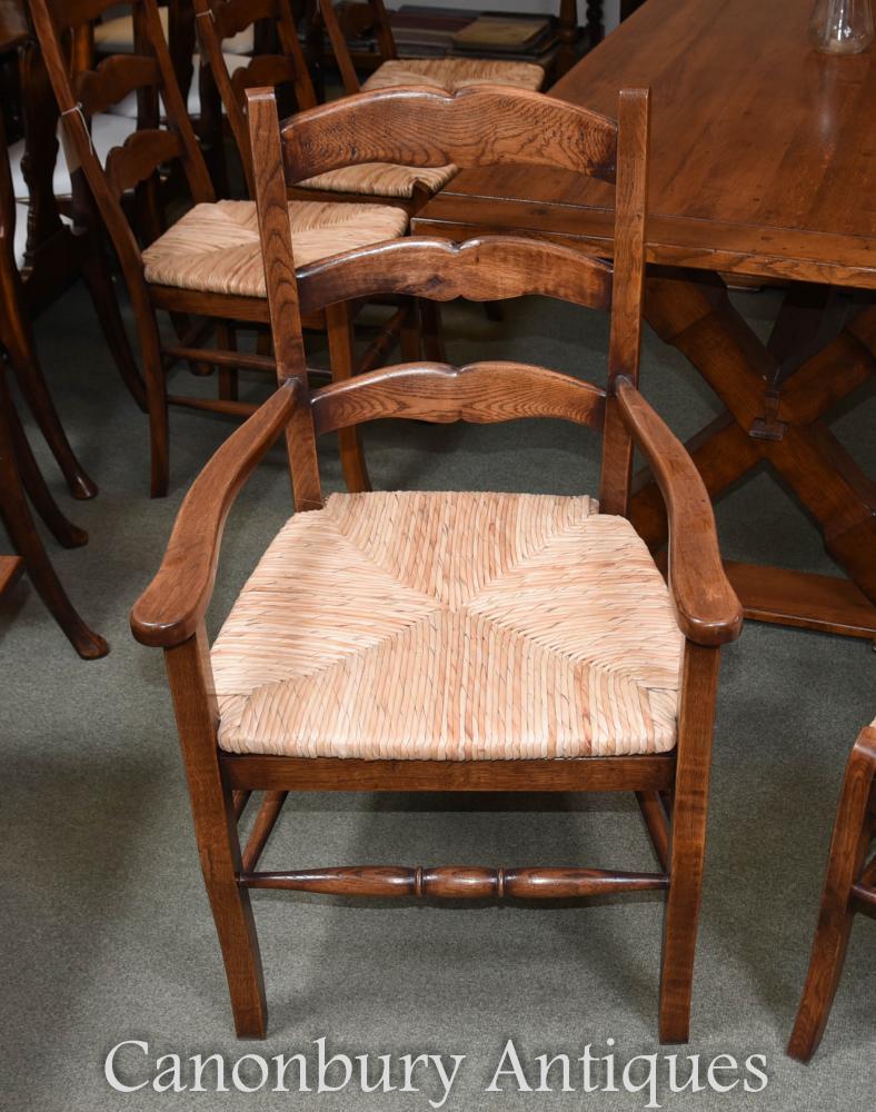 Set 8 Oak Ladderback Kitchen Dining Chairs Rush Seats