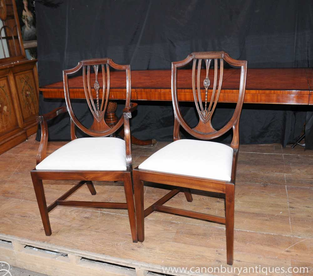 Shield Back Dining Room Chairs: Set 8 Regency Shield Back Dining Chairs Mahogany Diners