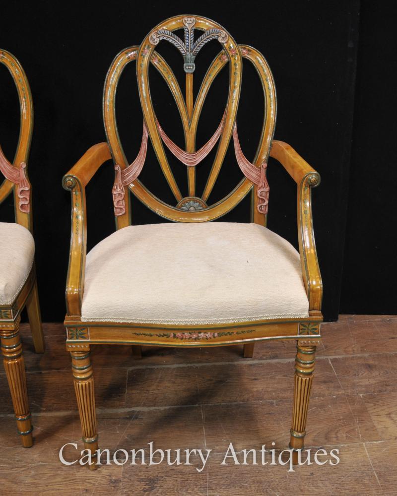 Set 8 Satinwood Hepplewhite Dining Chairs Painted Furniture