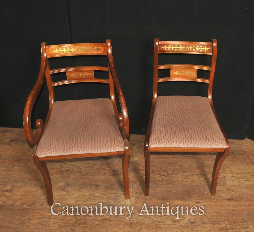 Set 8 Walnut Antique Regency Dining Chairs Brass Inlay