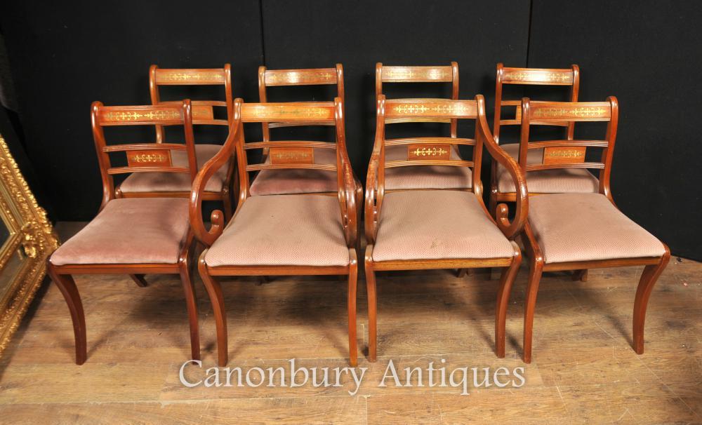 - Set 8 Walnut Antique Regency Dining Chairs Brass Inlay