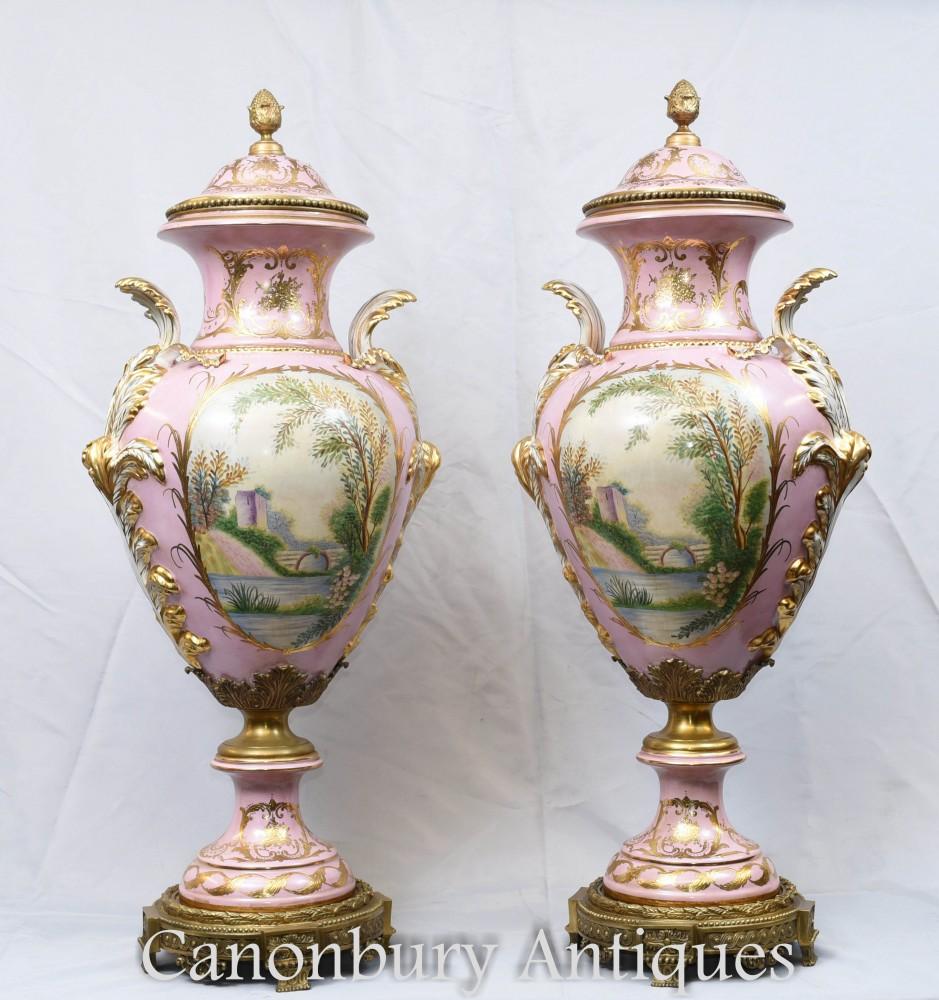 Sevres Porcelain Vases French Paris Floral Urns